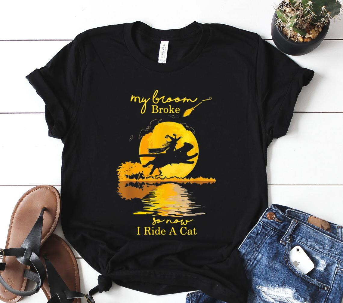 witch riding cat my broom broke so now i ride a cat halloween classic shirt