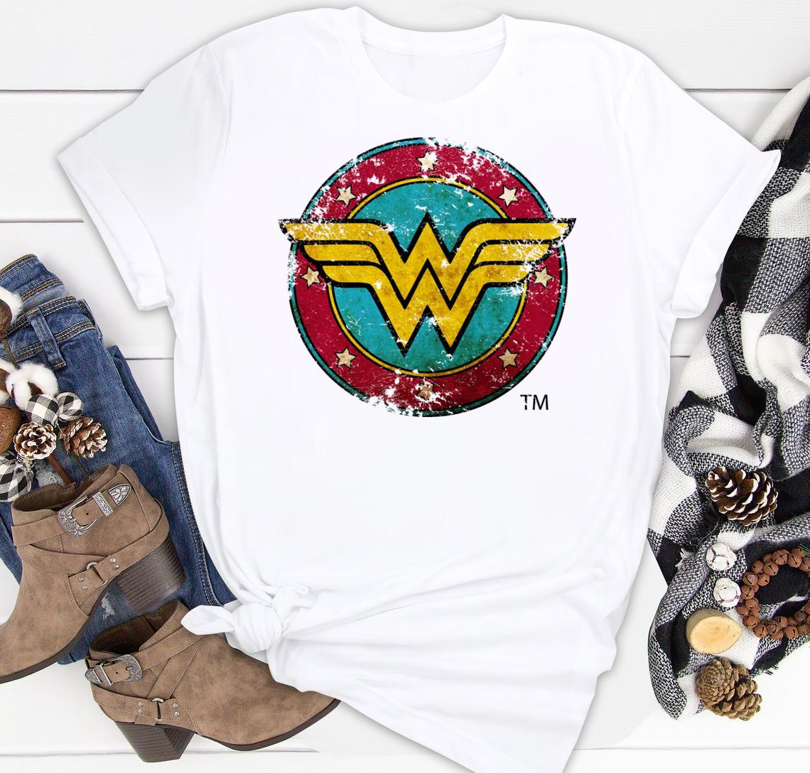 wonder woman logo distressed classic shirt