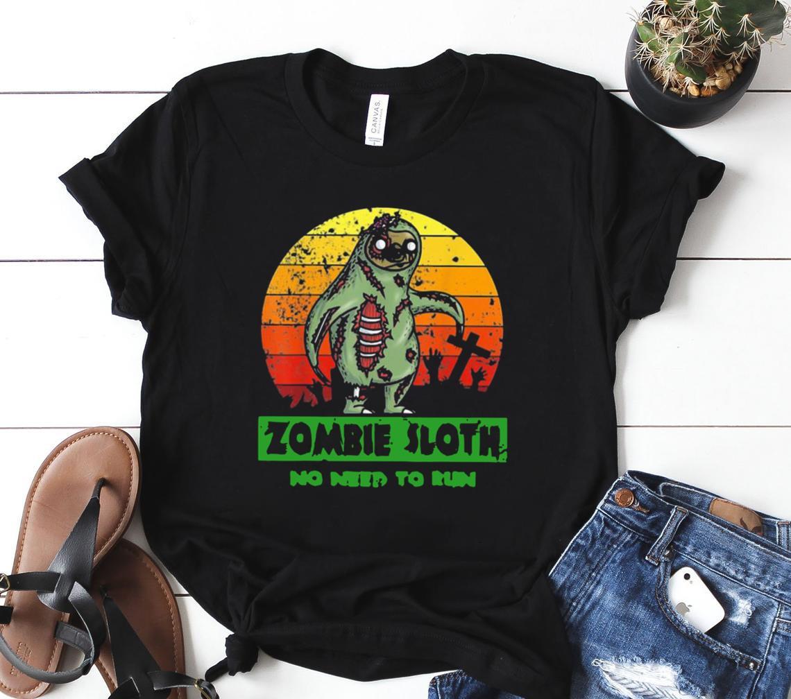 zombie sloth no need run halloween 2021 vintage classic shirt