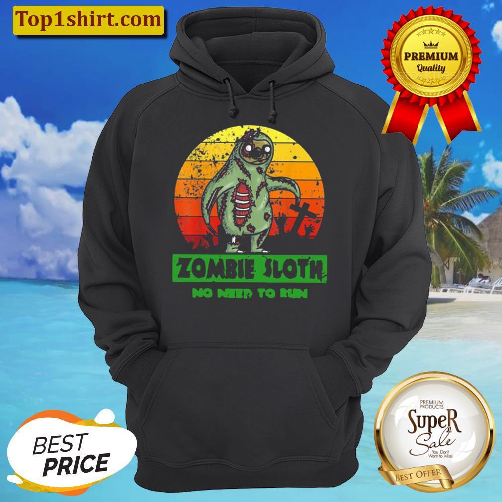 zombie sloth no need run halloween 2021 vintage unisex hoodie
